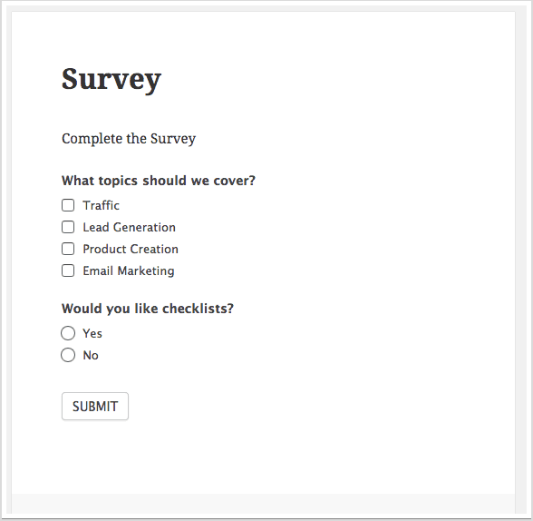 Quick survey example