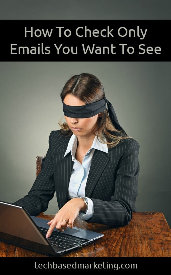 Blindfolded business woman with laptop . Indecision and uncertainty conceptual