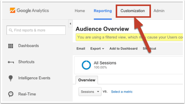 Log into Google Analytics