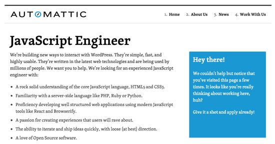 Automattic job screen