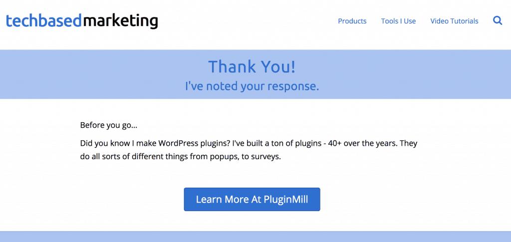 Thank you response screenshot
