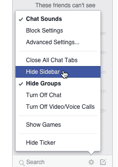 Hide Facebook Chat Sidebar