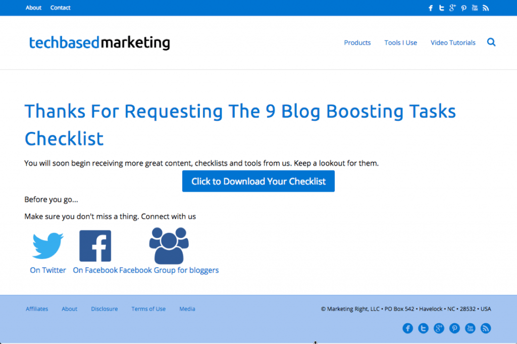 Blog Boosting Task Checklist Thank You Page
