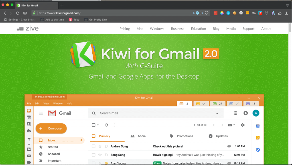 Screenshot of Kiwi for Gmail website.